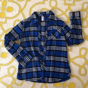 💙Justice Girl's LS Flannel Button Up💙 Sz 16